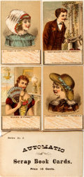 Books:Americana & American History, Automatic Scrap Book Cards. Series No. 2. New York: Joseph Koehler,1882. Series of four color lithograph cards with moveabl...