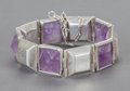 Silver Smalls:Other , A WILLIAM SPRATLING MEXICAN SILVER AND AMETHYST BRACELET. WilliamSpratling, Taxco, Mexico, circa 1942-1946. Marks: WS (...