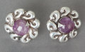 Silver Smalls:Other , A PAIR OF HÉCTOR AGUILAR SILVER AND AMETHYST EARRINGS . HéctorAguilar, Taxco, Mexico, circa 1948. Marks: HA (conjoined)...(Total: 2 Items)