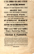 Books:Americana & American History, [Political Leaflet, Thomas Birch Florence]. An Address to theWorkingmen of the Second Congressional District of Penn'a! Ess...