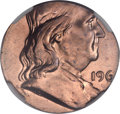 Errors, 196?-D 50C Franklin Half -- Struck on a Struck Cent -- MS65 Red andBrown NGC....