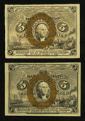 Fractional Currency:Second Issue, Fr. 1232 5¢ Second Issue Two Examples.. ... (Total: 2 notes)
