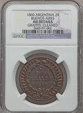 Argentina, Argentina: Buenos Aires 2 Reales 1860 AU Details (Graffiti Cleaned)NGC,...