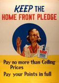 Military & Patriotic:WWII, [World War II]. Keep The Home Front Pledge Propaganda Poster. U.S. Government Printing Office, 1944. Measures 28...