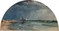 Fine Art - Work on Paper:Watercolor, AMERICAN SCHOOL (19th Century). Shipwreck on the Shore.Gouache on paper. 4-1/2 x 8-3/4 inches (11.4 x 22.2 cm) (lunette...