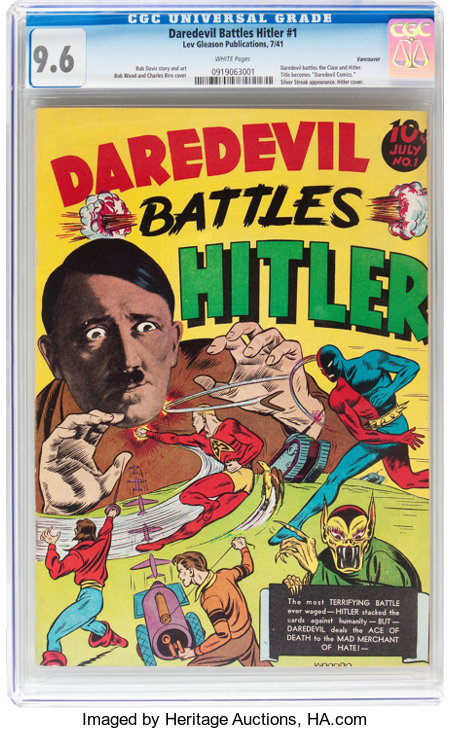 Daredevil Comics #1 Daredevil Battles Hitler - Vancouver pedigree (Lev Gleason, 1941) CGC NM+ 9.6 White pages....