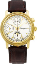 Timepieces:Wristwatch, Bravingtons Gold Automatic Chronograph With Calendar & Moon Phase. ...