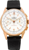 Timepieces:Wristwatch, Swiss Vintage Rose Gold Chronograph Wristwatch, circa 1940's. ...