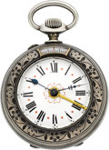 "Timepieces:Pocket (pre 1900) , Swiss Unusual ""Cricket"" Two Train Alarm Pocket Watch, circa 1890's. ..."