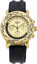 Timepieces:Wristwatch, Svend Andersen, 18k Gold World Time Chronograph, circa 1990's. ...