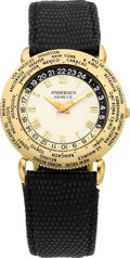 "Timepieces:Wristwatch, Svend Andersen ""Communication"" Gold World Time Automatic, circa1990's. ..."