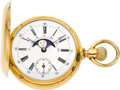 Timepieces:Pocket (pre 1900) , Swiss Gold Double Dial Moon Phase Calendar, circa 1890's. ...