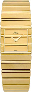 Timepieces:Wristwatch, Piaget Ref. 7131 Gent's 18k Gold Polo Wristwatch. ...