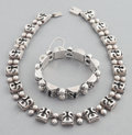 Silver Smalls:Other , VICTORIA MEXICAN SILVER NECKLACE AND BRACELET . Victoria, Taxco,Mexico, circa 1950. Marks: VICTORIA, TAXCO, MEXICO, STERL...(Total: 2 Items)