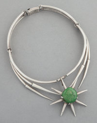 A SALVADOR TERÁN MEXICAN SILVER AND JADE NECKLACE Salvador Terán, Mexico City, Mexico, circa 1955 Marks: S...