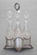 Silver Holloware, American, A LINCOLN & FOSS COIN SILVER DECANTER STAND WITH FOUR ORIGINAL BOTTLES. Lincoln & Foss, Boston, Massachusetts, circa 1850. M... (Total: 5 Items)
