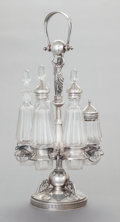 Silver Holloware, American, A WOOD & HUGHES SILVER FIGURAL CRUET STAND WITH SIX ORIGINALGLASS BOTTLES . Wood & Hughes, New York, New York, circa 1875.... (Total: 7 Items)