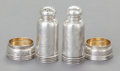 Silver Holloware, American:Open Salts, TWO PAIR OF GORHAM OPEN SALTS AND PEPPER SHAKERS. GorhamManufacturing Co., Providence, Rhode Island, 1880. Marks to salts:... (Total: 4 Items)