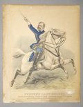 """Military & Patriotic:Indian Wars, CUSTERS LAST CHARGE BY CURRIER & IVES ca.1876 - This is a veryRARE original Currier & Ives broadside of """"Custer's LastChar... (Total: 1 Item)"""