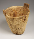 American Indian Art, A WASCO/WISHRAM CARVED WOOD MORTAR. . c. 1850. ...