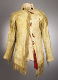 American Indian Art:War Shirts/Garments, A PLAINS PAINTED AND FRINGED HIDE SCOUT JACKET. c. 1880. ...