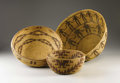 American Indian Art:Baskets, THREE CALIFORNIA COILED BASKETS. . c.1910... (Total: 3 Items)