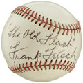 Autographs:Baseballs, 1960's Frank Frisch Single Signed Baseball. The Hall of Fame switch hitting second baseman was one of the game's premier ba...