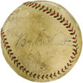 Autographs:Baseballs, 1927 Babe Ruth & Lou Gehrig Signed Baseball. Just days afterbringing the greatest New York Yankees season in history to a ...