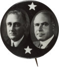 Political:Pinback Buttons (1896-present), Roosevelt & Lehman: Real Photo Coattail Jugate. ...