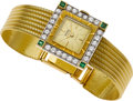 Estate Jewelry:Watches, Swiss Lady's Diamond, Emerald, Gold Integral Bracelet Wristwatch. ...