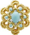 Estate Jewelry:Brooches - Pins, Turquoise, Diamond, Gold Brooch. ...