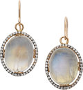 Estate Jewelry:Earrings, Moonstone, Diamond, Gold, Sterling Silver Earrings, Carol Silvera....