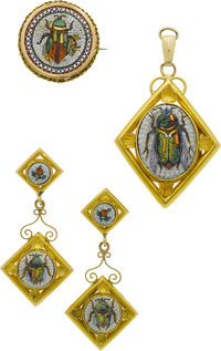 Antique Micromosaic, Gold Jewelry