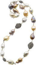 Estate Jewelry:Necklaces, Freshwater Pearl, Diamond, Gold, Silver Necklace. ...