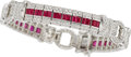 Estate Jewelry:Bracelets, Ruby, Diamond, White Gold Bracelet. ...