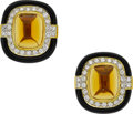 Estate Jewelry:Earrings, Diamond, Citrine, Black Onyx, Gold Earrings. ...
