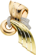 Estate Jewelry:Brooches - Pins, Retro Diamond, Platinum, Gold Brooch. ...