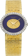 Estate Jewelry:Watches, Piaget Lady's Diamond, Lapis Lazuli, Gold Integral BraceletWristwatch . ...