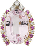 Estate Jewelry:Pendants and Lockets, Kunzite, Diamond, Pink Sapphire, Gold Pendant. ...