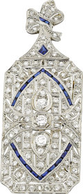 Estate Jewelry:Brooches - Pins, Art Deco Diamond, Sapphire, Platinum Pendant-Brooch. ...