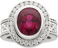 Estate Jewelry:Rings, Rubelite Tourmaline, Diamond, Platinum Ring. ...