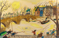 LUDWIG BEMELMANS (American, 1898-1962) Madeline's Rescue, The Seine, Pont Pont Neuf, Statue of the Vert Galant