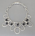 Silver Smalls:Other , AN ANTONIO PINEDA MEXICAN SILVER AND ONYX NECKLACE . AntonioPineda, Taxco, Mexico, circa 1953. Marks: (Antonio-crown),SI...