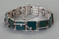Silver & Vertu:Smalls & Jewelry, A RARE ANTONIO PINEDA MEXICAN SILVER AND BLOODSTONE BRACELET . Antonio Pineda, Taxco, Mexico, circa 1953. Marks: (Antonio-cr...