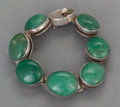 Silver Smalls:Other , AN ANTONIO PINEDA MEXICAN SILVER AND JADE BRACELET . AntonioPineda, Taxco, Mexico, circa 1953. Marks: (Antonio-crown),TA...