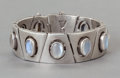 Silver & Vertu:Smalls & Jewelry, A MEXICAN SILVER AND MOONSTONE CUFF, DESIGNED BY ANTONIO PINEDA . Antonio Pineda, Taxco, Mexico, circa 1950. Marks: TAXCO,...