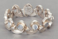 Silver Smalls:Other , AN ANTONIO PINEDA MEXICAN SILVER AND MOONSTONE BRACELET . AntonioPineda, Taxco, Mexico, circa 1953. Marks: (Antonio-crown),...