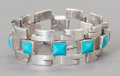 Silver & Vertu:Smalls & Jewelry, AN ANTONIO PINEDA MEXICAN SILVER AND TURQUOISE BRACELET . Antonio Pineda, Taxco, Mexico, circa 1940. Marks: (Antonio-crown),...