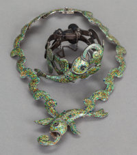A MARGOT DE TAXCO MEXICAN SILVER AND ENAMEL NECKLACE AND BRACELET Margot Van Voorhies Carr, Taxco, Mexico, circa