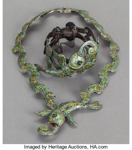 A MARGOT DE TAXCO MEXICAN SILVER AND ENAMEL NECKLACE AND BRACELET Margot Van Voorhies Carr, Taxco, Mexico, circa 1955Mar... (Total: 2 )